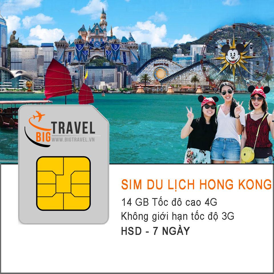 Sim 4G du lịch Hồng Kong 7 ngày (14 GB tốc độ 4G +3G không giới hạn) - Bigtravel.vn