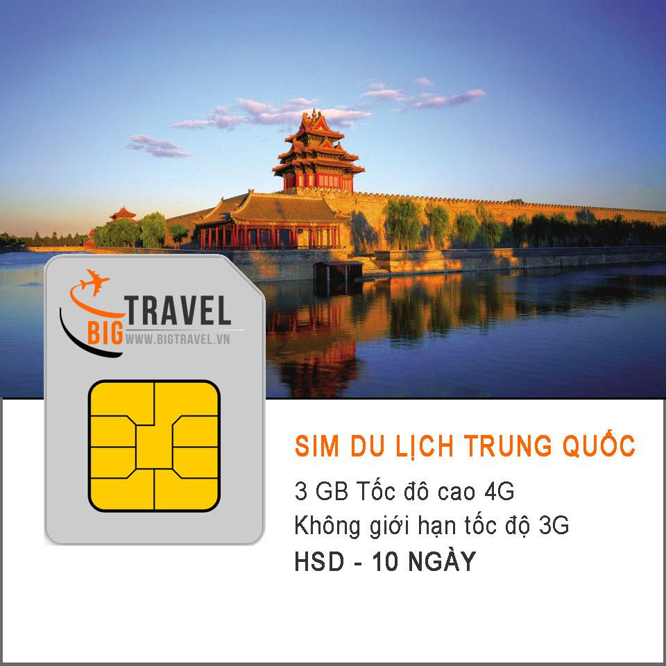 Sim 4G du lịch Trung Quốc 10 ngày (3 GB tốc độ 4G + 3G không giới hạn) - Bigtravel.vn