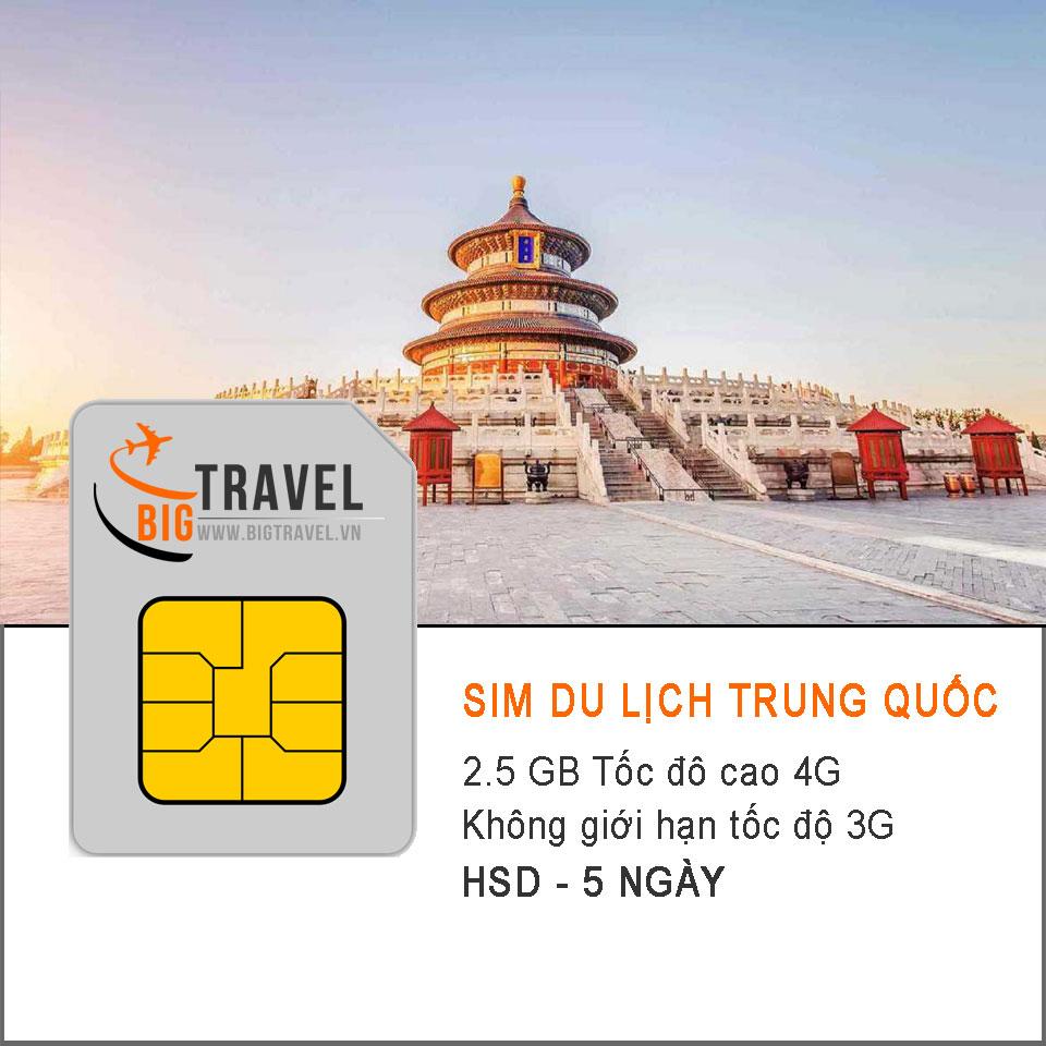 Sim 4G du lịch Trung Quốc 5 ngày (2.5 GB tốc độ 4G +3G không giới hạn) - Bigtravel.vn