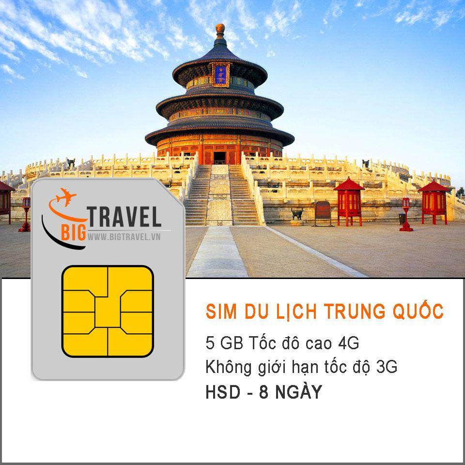 Sim 4G du lịch Trung Quốc 8 ngày (5 GB tốc độ 4G +3G không giới hạn) - Bigtravel.vn