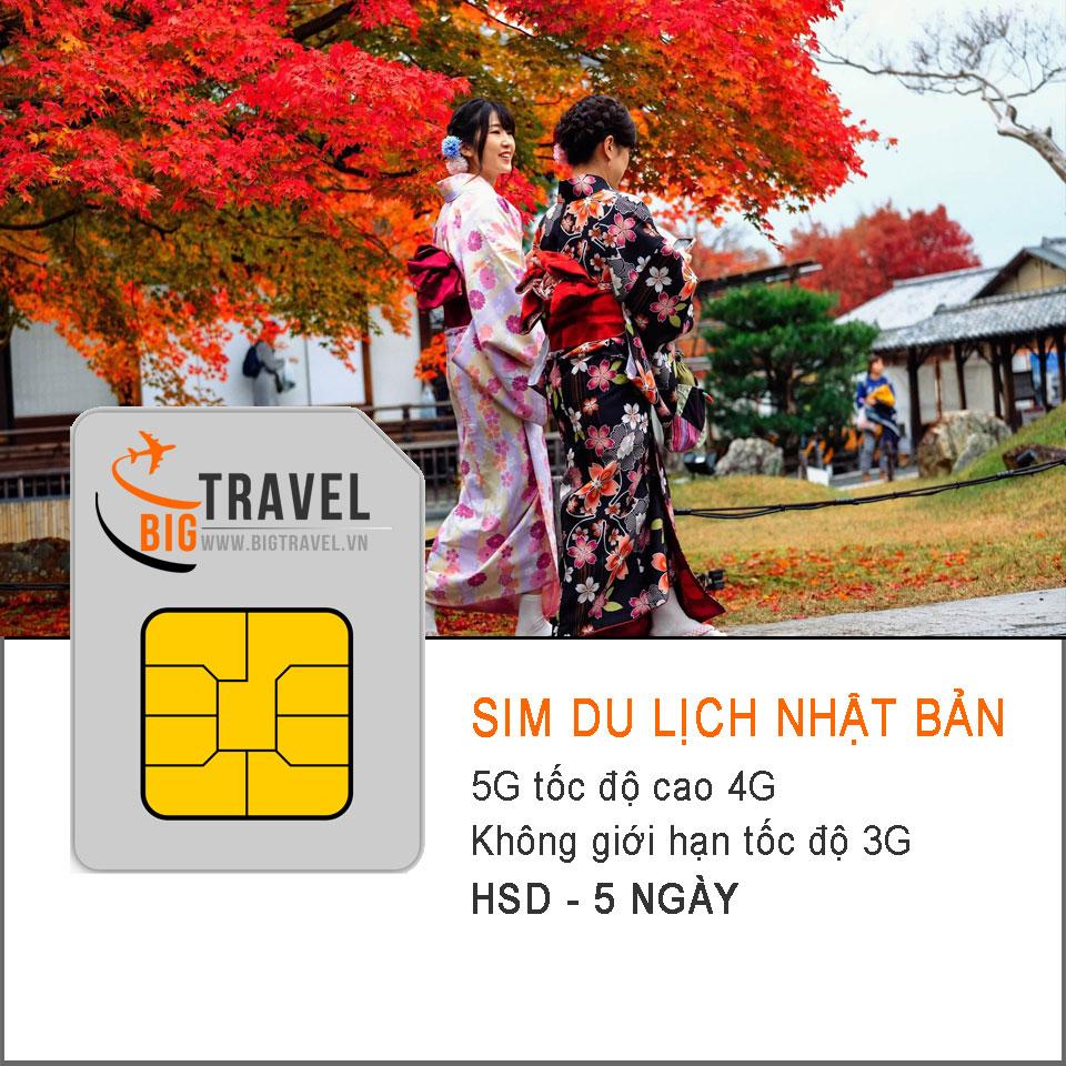 Sim du lịch Nhật Bản 5 Ngày (5G tốc độ 4G - Không giới hạn 3G) - Bigtravel.vn
