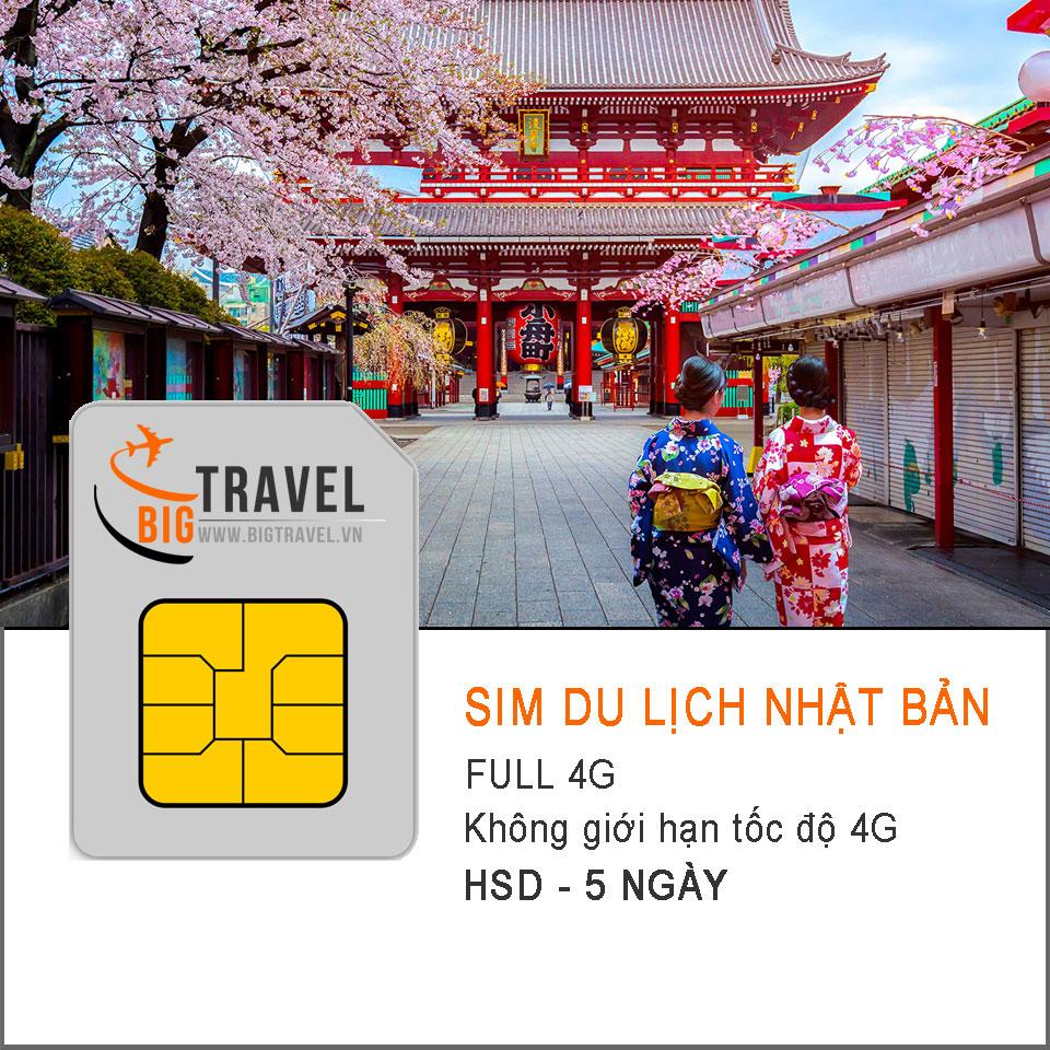 Sim du lịch Nhật Bản 5 Ngày FULL 4G - Bigtravel.vn